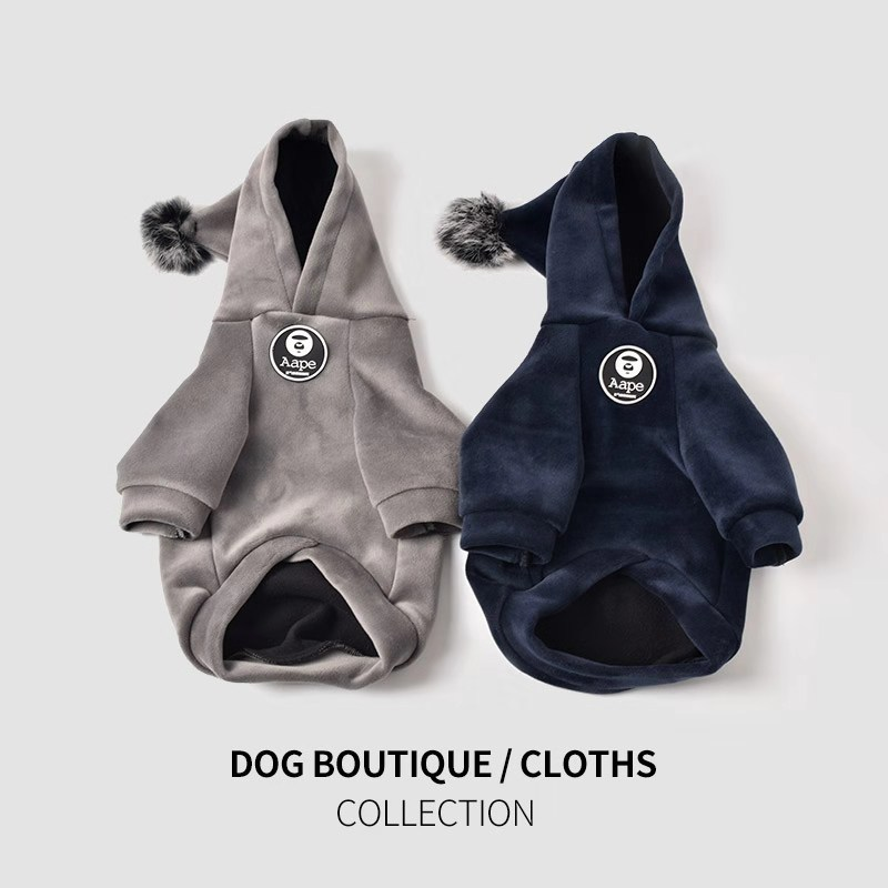 Dog Hoodie Pet Clothing Winter Clothes Autumn and Thickening Law Fighting Teddy