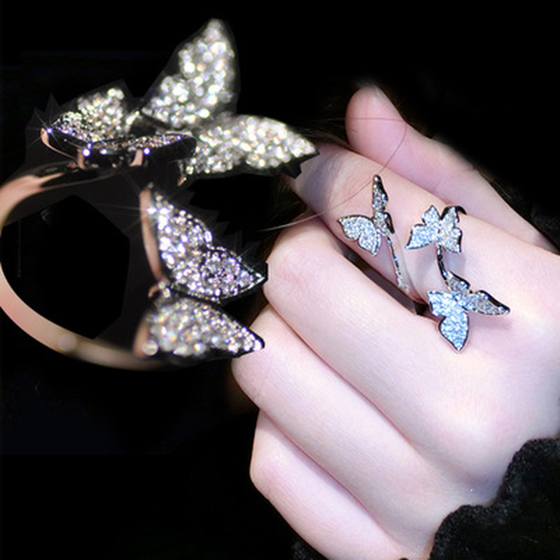 New Arrival Silver Butterfly Resizable Rings with AAAAA Zircon Bling Stone Women Fashion PartyJewelry Best Gift 2019