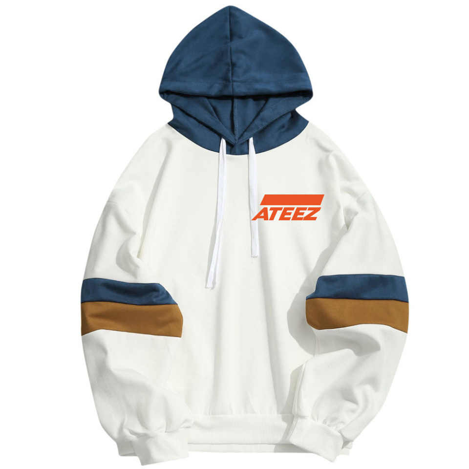 Kpop ATEEZ Idol Fan Support Hoodies Men Women Kpop Popular Hip Hop Streetwear Sweatshirt Long Sleeve Patchwork Sudaderas