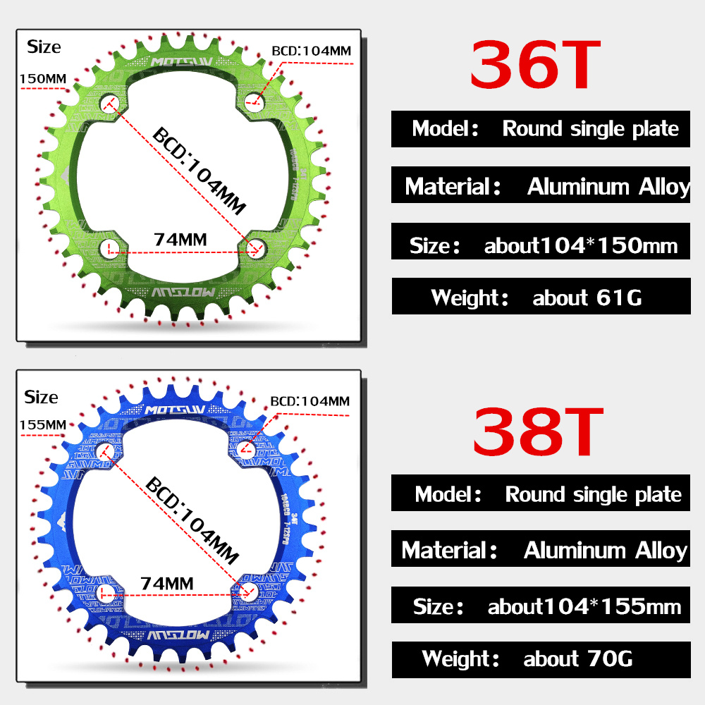 ALI shop ...  ... 32784960875 ... 4 ... MTB Bicycle Round Shape Narrow Wide Chainwheel 32T/34T/36T/38T 104BCD Chainring Bike Circle Crankset Single Plate Bicycle Parts ...