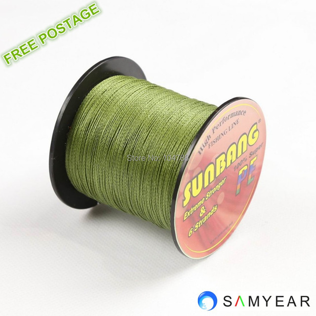 Free shipping  300M SUNBANG Super Strong Japan Multifilament PE Braided Fishig Line 6 strands 20/30/40/50/60/70/80/90/100LB