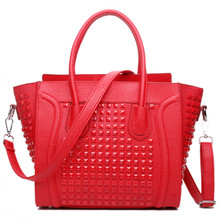 MISS LULU Women  Designer Celebrity Leather Smile square nail  Handbag Shoulder Satchel Hand Bag Styles