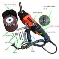 1 cái 220 V Điện máy kéo dây, portable đánh bóng phẳng máy đối với thép không gỉ, vẽ băng ghế dự bị, dây kim loại bản v