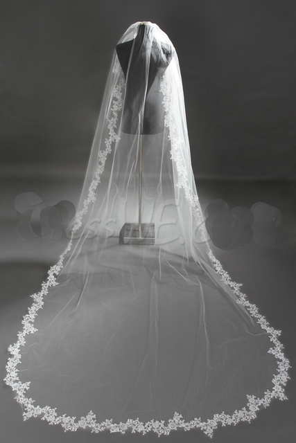 2016 White Bridal Veil One Layer 3m Lace Edge Wedding Accessory Appliques Wedding Veils Free Shipping