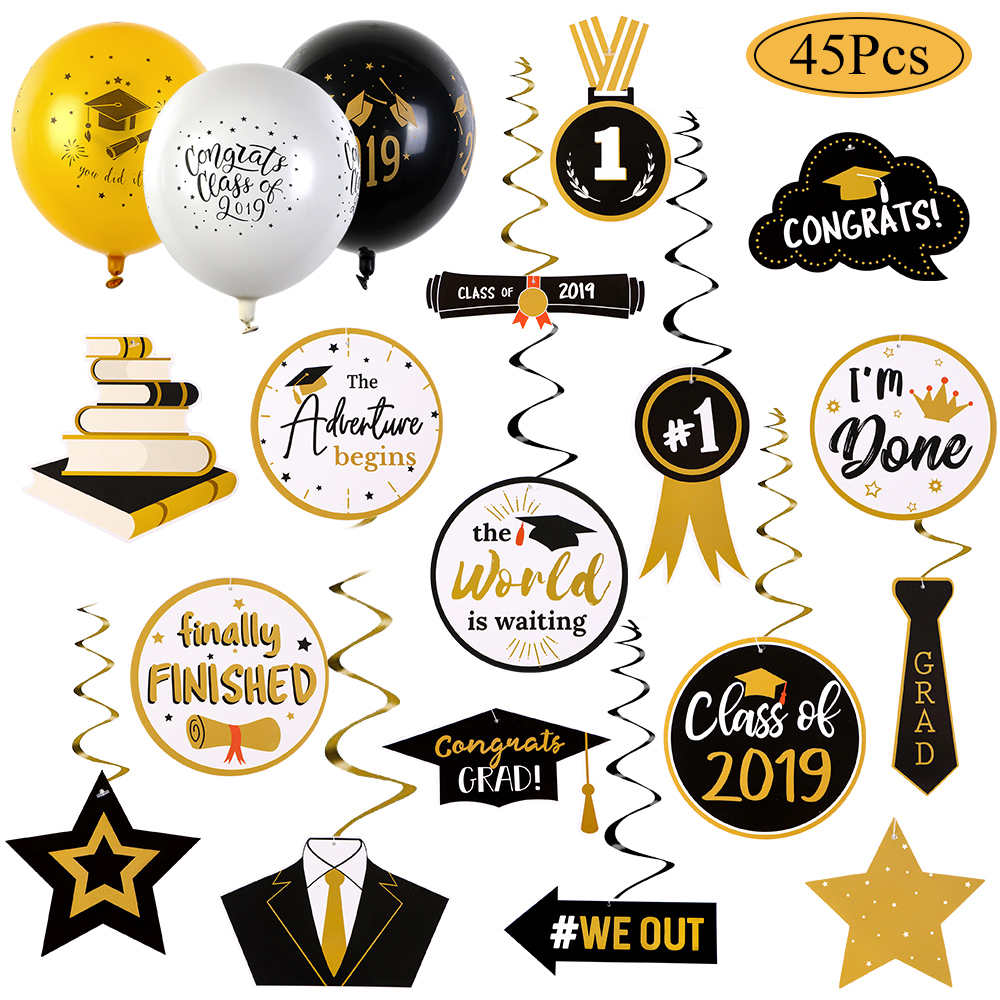 CLASS OF 2019 Yellow Grad Hat Graduation Party Balloons Decoration Supplies