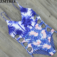 ZMTREE 2017 Sexy High Cut One Piece Swimsuit Reversible Swimwear Women Bathing Suit Bodysuit Beachwear Bandage