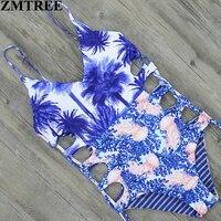 ZMTREE 2017 Sexy High Cut One Piece Swimsuit Reversible Swimwear Women Bathing Suit Bodysuit Beachwear Bandage