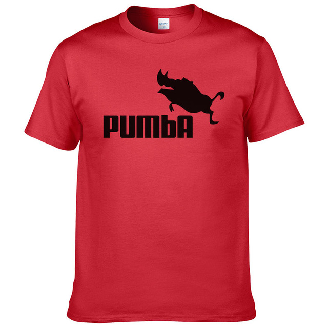 Funny tee cute t shirts homme Pumba men short sleeves cotton tops cool tshirt summer jersey