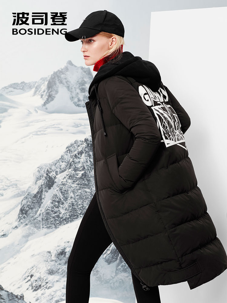 BOSIDENG X-long   down   parka for women thick   down   jacket hoodie outwear   coat   over-knee waterproof high quality B70142110V