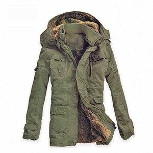 Image 5 - חורף מעיל גברים מזדמן לעבות כותנה חם גשם ארוך מעיל מעיל רוח Parka צמר מעילים בתוספת גודל 5XL מעיל צבא מעילים