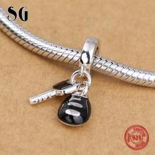 2018 New Silver Galaxy Red Black Enamel Car Key Beads For Women Fit pandora Bracelet Charms 925 Original Fashion Jewelry