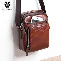 LIELANG Genuine Leather Messenger Bag Men Shoulder Brown Bag Handbag Chest Crossbody Vintage Cowhide Travel Male Bag heuptasje