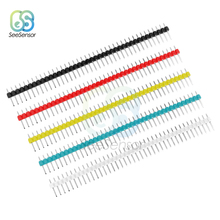 10PCS 40Pin 1x40P Male Breakable Single Row Pin Header Strip Connector 2.54mm Black White Blue Red Green Yellow 5pcs pitch 2 54mm 80 pin 2x40 double row male breakable pin header connector strip for arduino black
