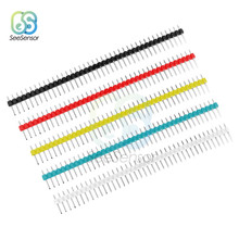10 Pcs 40Pin 1X40 P MALE Pecah Satu Baris Pin Header Strip Konektor 2.54 Mm Hitam Putih Biru merah Hijau Kuning(China)
