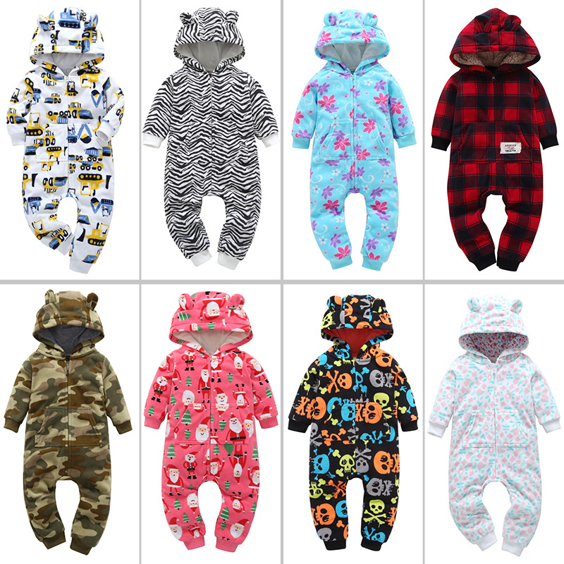 New Limited Baby   Rompers   Unisex Print Hooded Fleece Autumn Winter Baby jumpsuit Boys Overalls Newborn One Piece Girls Clothes