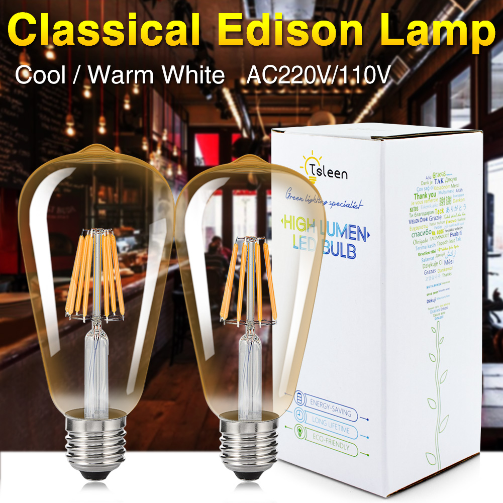 TSLEEN Free Shipping!4PCS LED Filament Light Bulb E27 220V 4W 8W 12W 16W Edison Lamp Retro Antique Vintage Style Cold Warm White retro lamp st64 vintage led edison e27 led bulb lamp 110 v 220 v 4 w filament glass lamp