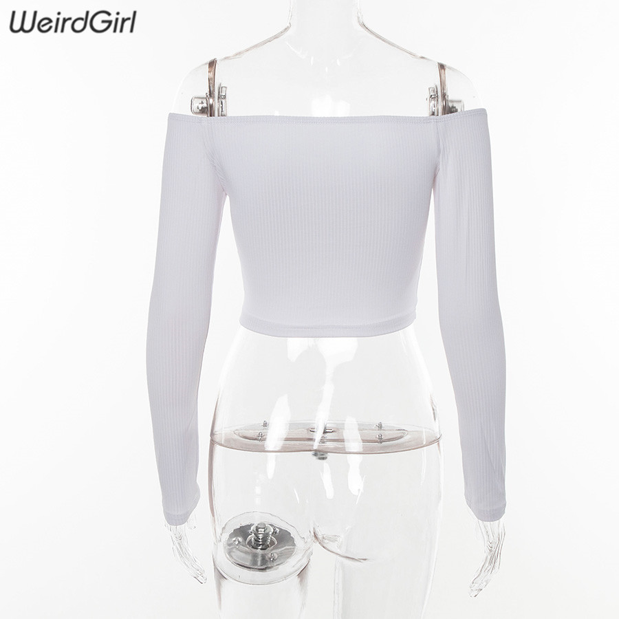 Weirdgirl women T-shirts sexy and club fashion female T-shirt long sleeve off shoulder solid color lady Tshirt autumn basic tees