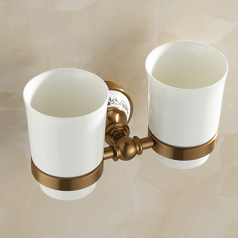 European Antique Double Cup Holder Brush Cup Holder Toothbrush Holder Gargle Cup Bathroom Products Accessories dkny ny8139