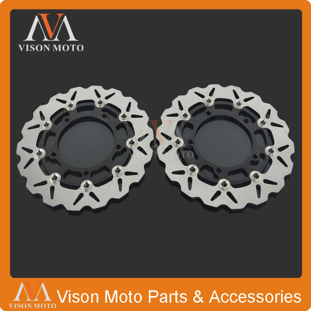 2PCS Front Floating Brake Disc Rotor For SUZUKI SFV650 SFV 650 09 10 11 12 13 SV650 SV 650 2007 2008 2009 2010 2011 2012 disc brake pads set for suzuki sv650 sv 650 a naked abs 2007 2008 2009 2010 gsr750 gsr 750 abs