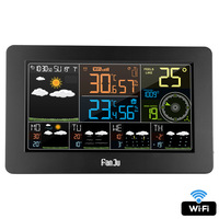 FanJu wifi Digital Weather Station Time Calendar Temperature Humidity Wind Direction Speed 5 Day Weather Forecast Wall Clock
