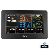FanJu wifi Digitale Stazione Meteo Tempo Calendario di Umidità di Temperatura di Direzione del Vento Velocità 5 Giorno Previsioni Meteo Orologio Da Parete