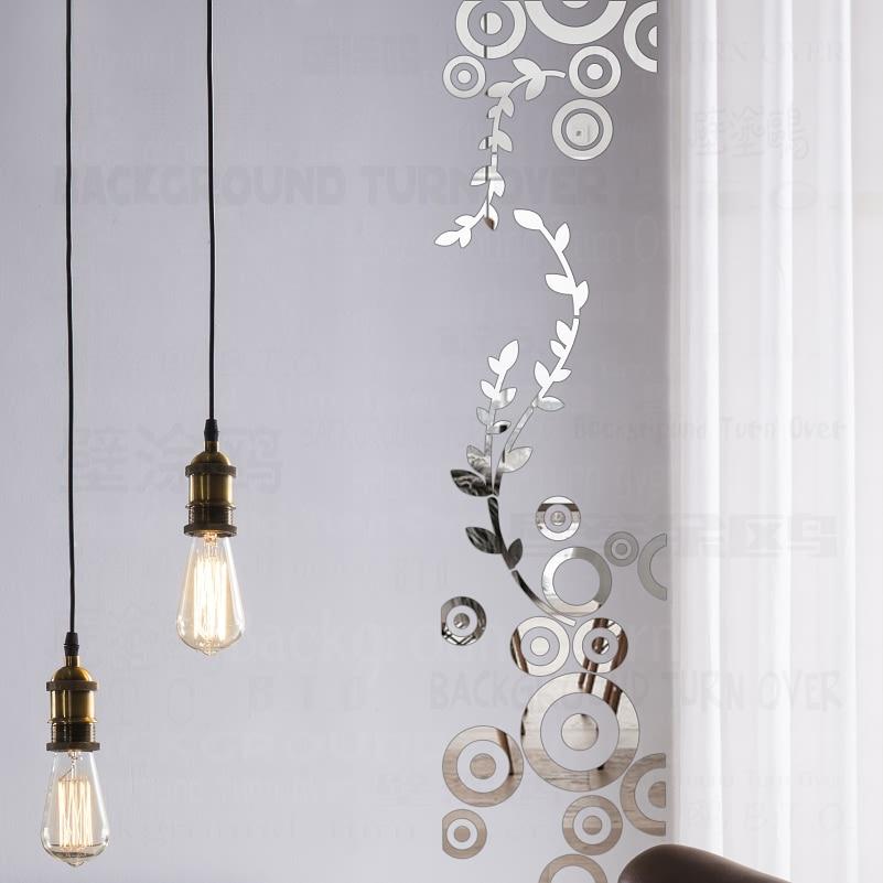 크리 에이 티브 DIY 열 장식 원형 반지 포도 나무 아크릴 거울 벽 스티커 가정 장식 차원 방 장식 데칼 R230을 번쩍