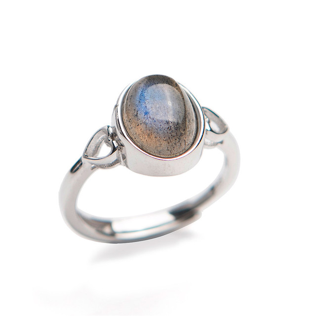 Genuine Natural Labradorite Strong Blue Light Round Stone Bead Sliver Fashion Lady Anniversary Ring 6*9mm