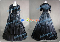 Renaissance Colonial Cosplay Black Dress Ball Gown Prom H008