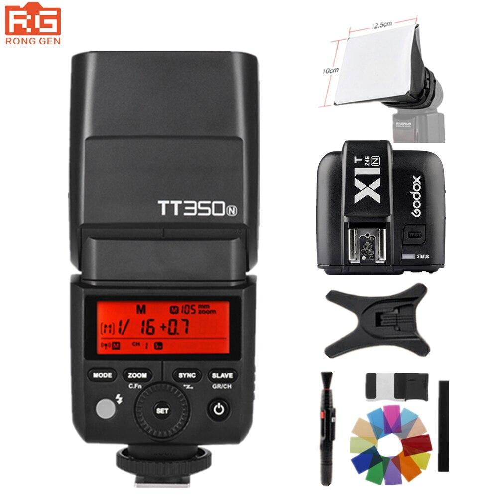 Godox TT350N tt350 2.4G HSS 1/8000s TTL GN36 Camera Flash Speedlite for Nikon Mirrorless Digital Camera+Godox X1T-N Trigger godox v860ii n v860iin gn60 i ttl hss 1 8000s speedlite flash w li ion battery x1t n flash transmitter optional for nikon
