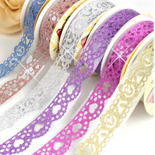 Pack of 7 Cute Lace Flower Bling Glitter DIY Decorative Washi Tape Sticky Paper for Scrapbooking and Crafts (7pcs Random color)(China)
