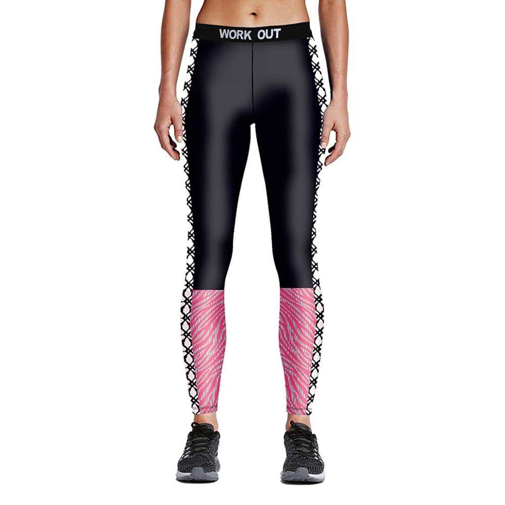 Nieuwe collectie zwart-roze patchwork dames plus size hardloopbroek S - Sportkleding en accessoires