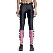 New Arrival Black- Pink Patchwork Women Plus Size Running Pants S To 4XL 3 Patterns Black  Sport Leggins