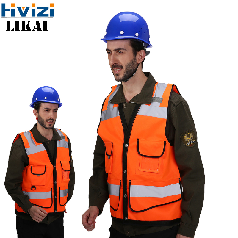 Reflective Safety Vest With Pockets Working Clothes Jacket Mens Cargo Work Vest Multi Pockets Logo Printing A Wide Selection Of Colours And Designs Safety Clothing Security & Protection