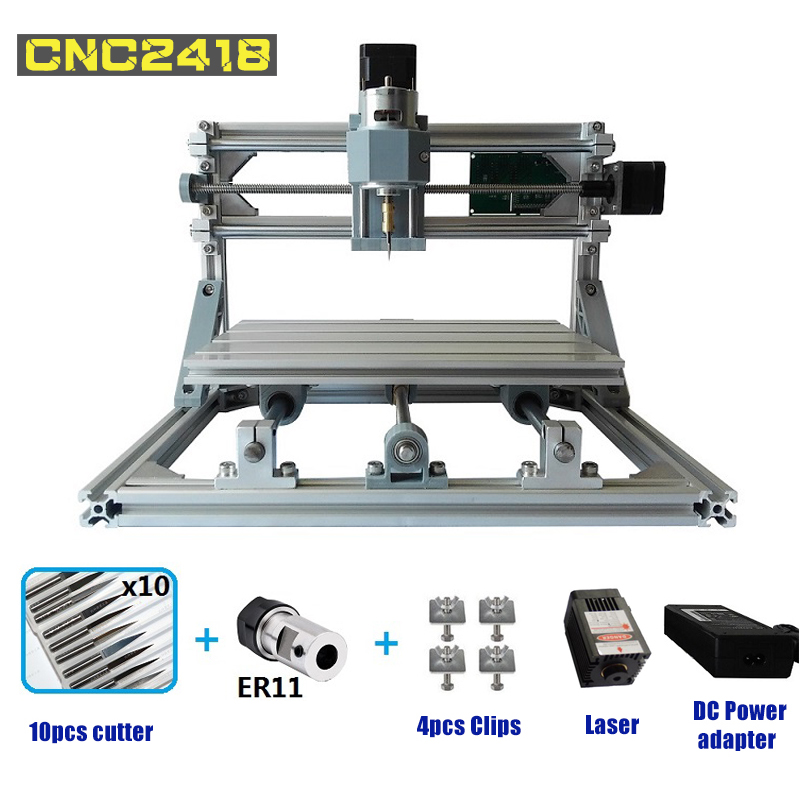 CNC2418 Router Laser Engraving Machine Mini Laser engraver ER11 GRBL Hobby DIY Machine for Wood PCB PVC Mini CNC Router Table 2020 wood router pcb milling machine arduino cnc diy wood carving laser engraving machine pvc engraver grbl cnc router fit er11