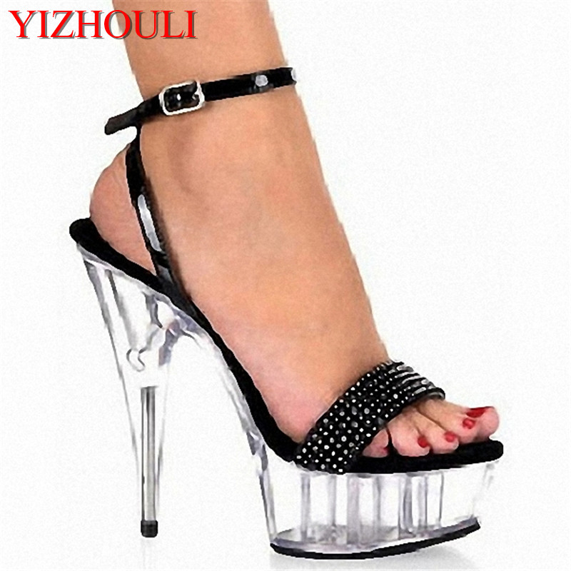 Patent Rhinestone 15CM Ankle Strap Super High Heel Platforms Pole Dance / Performance / Star / Model Shoes, Wedding Shoes 15cm sexy super high heel platforms pole dance performance star model shoes wedding shoes crystal shoes