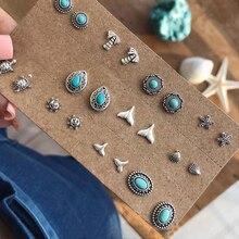 Богемный Черепаха Морская звезда Sun Shell волна кокосового гвоздики дерево Комплект сережек для женщин Винтаж Камень Серьги себе ювелирные изделия