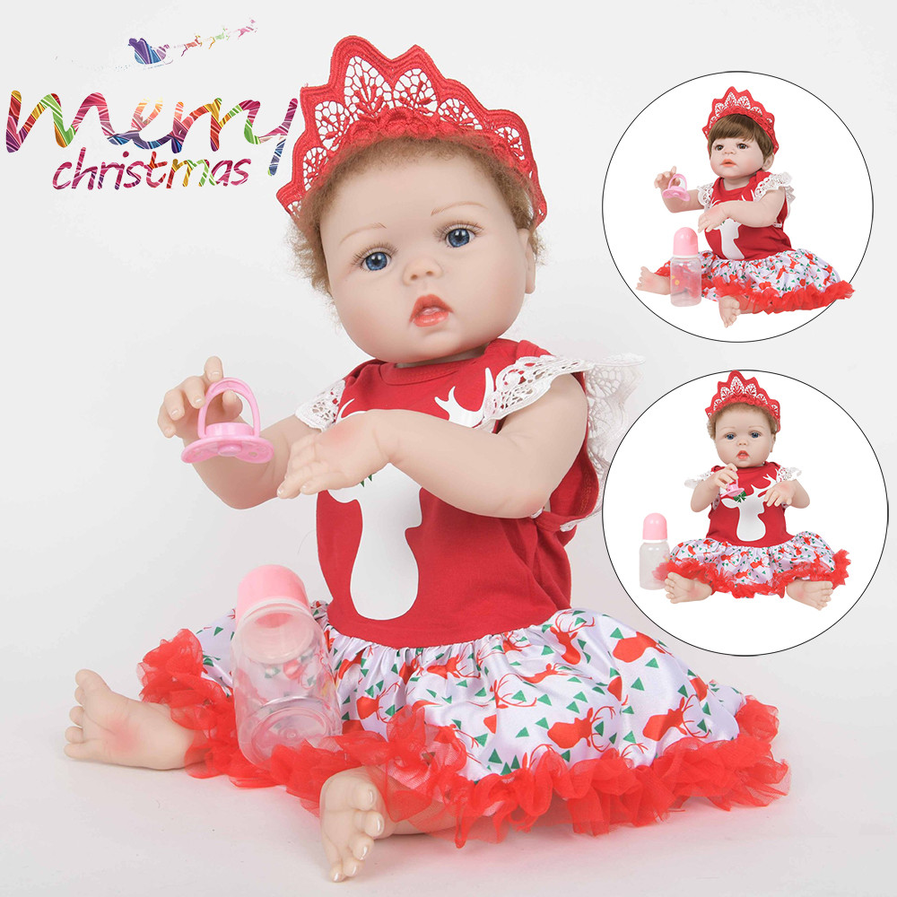 Christmas Realistic Wearing Crown 22 Reborn Baby Doll Soft Silicone VinylChristmas Realistic Wearing Crown 22 Reborn Baby Doll Soft Silicone Vinyl