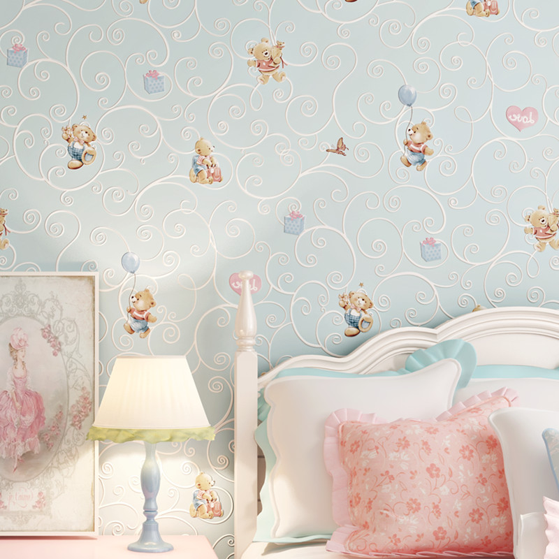 Купить с кэшбэком Cartoon Bear Wall Paper Add Thick Children Bedroom Girl Boy Room 3D Nonwoven Wall Paper