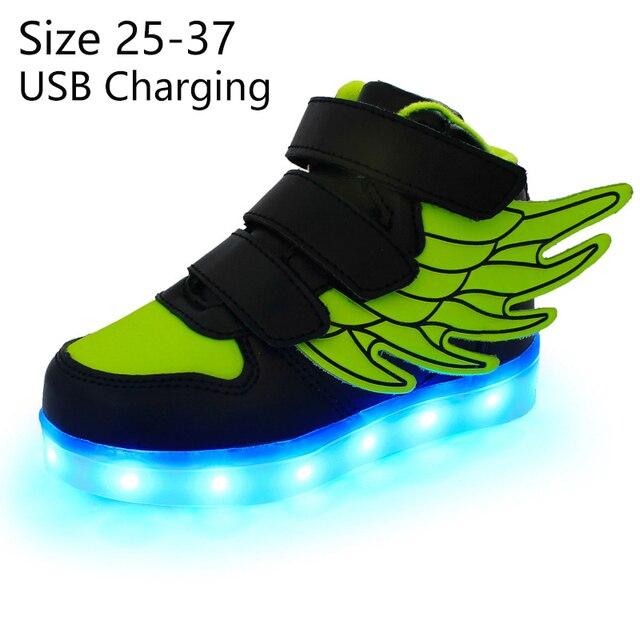 KRIATIV ילדים אור עד נעלי עם כנף led כפכפים Led נעלי תינוקות לילדים ילד וילדה סניקרס הזוהר זוהר