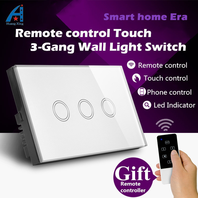 HUANGXING US/AU Standard Touch Switch 3Gang Remote Control Light Switch, Glass Panel Wall Switch 220V, Gift Remote Controller smart home us black 1 gang touch switch screen wireless remote control wall light touch switch control with crystal glass panel
