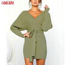 29a4a532dd3 Tangada женское платье 2018 вязаное мини-платье осень зима женское  сексуальное зеленое платье-свитер