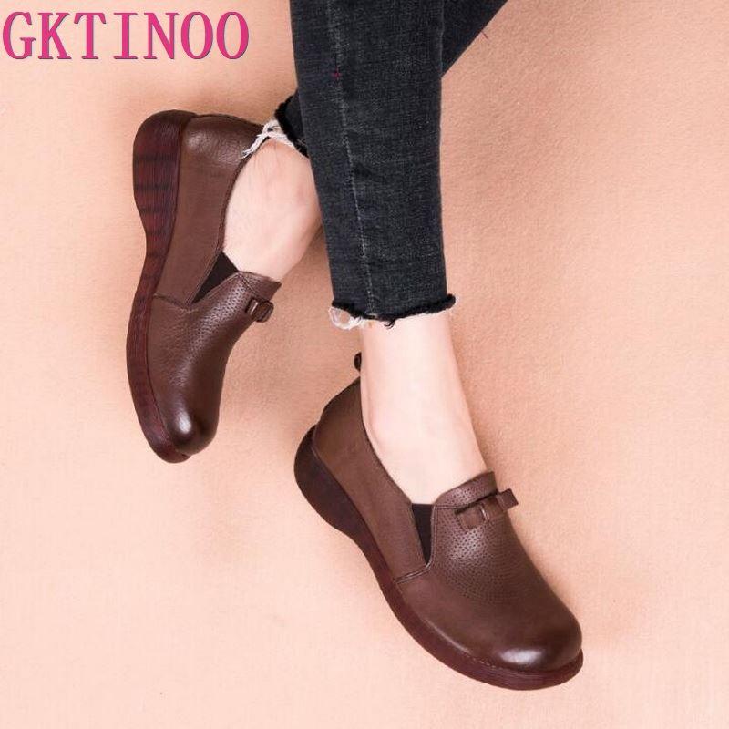 GKTINOO Flat Platform Woman Shoe Handmade Soft Bottom Casual Shoes Genuine Leather Flats Soft Comfortable Shoes