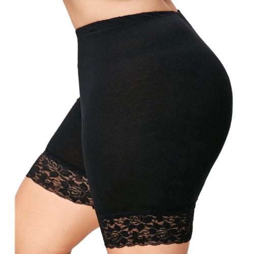 Women Plus Size Mid-Rise Lace Elastic Casual Trousers Trunks Leggings Solid Casual Thin Women Clothing