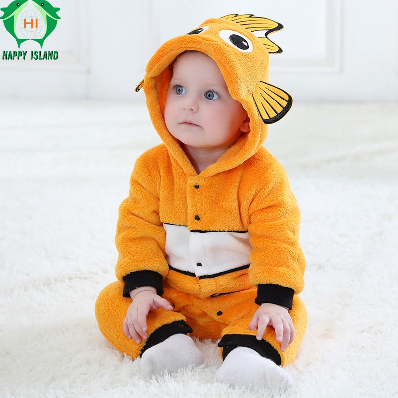 HAPPY ISLAND Baby Girl Cute Clownfish Rompers Baby Clothing Pajamas Infant Romper Baby Boys Girls Jumpsuit New born Kid Clothing newborn baby rompers baby clothing 100% cotton infant jumpsuit ropa bebe long sleeve girl boys rompers costumes baby romper