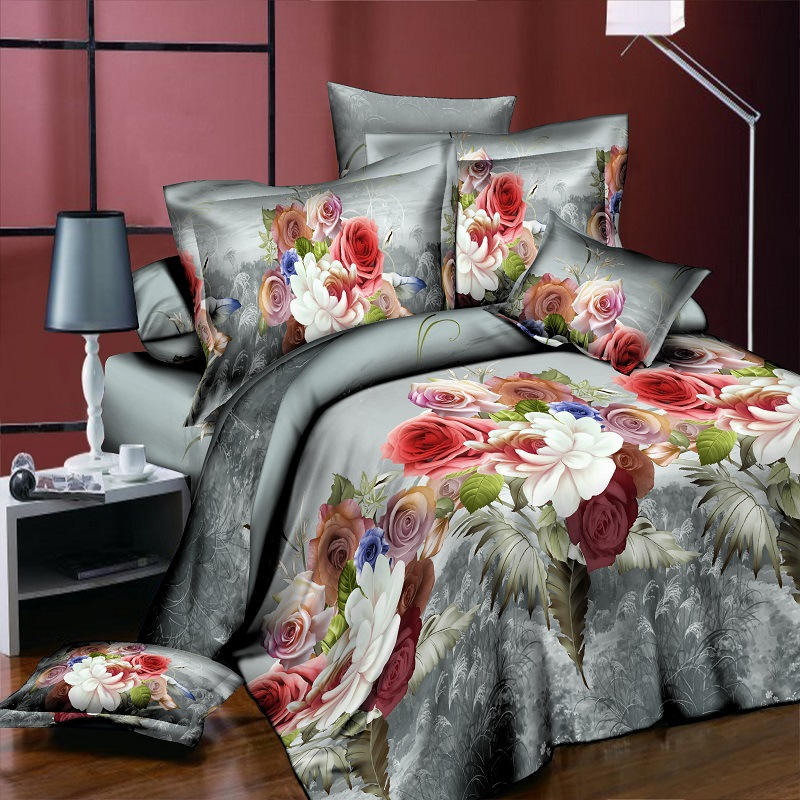 3D Bedding Sets Colorful Peony Rose Flower Cotton 4Pcs Duvet Cover Flat Sheet Pillowcase Bedclothes King Size High Quality