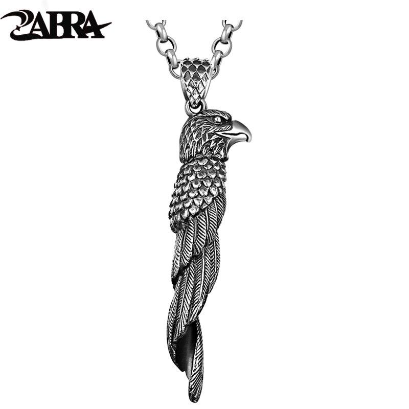 ZABRA 925 Sterling Silver Retro Black Eagle Pendant Necklace for Men Biker Vintage Punk Rock Personality Silver Pendant Jewelry punk style etched gold plated eagle moon pendant necklace for men