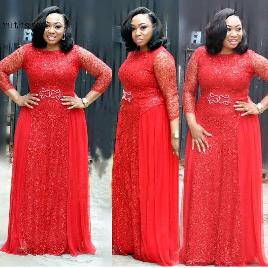 Rouge bal longues robes élégantes élégant africain grande taille à manches longues Nigeria robe de soirée femmes Semi formelle robe 2019 nouveau