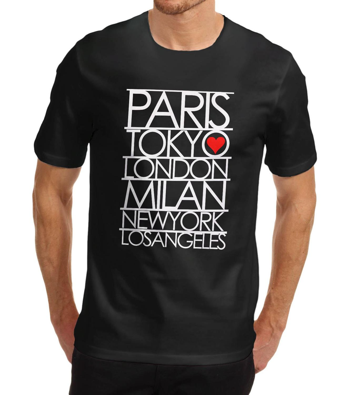 detailed look 30783 65a68 Print T Shirt Mens Short Mens Paris Tokyo London Fashion ...