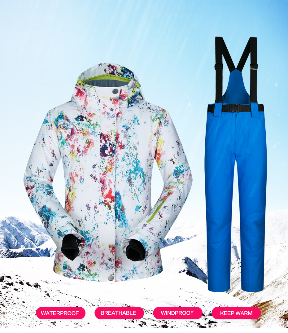 8ae77615fb 2018 New Ski Suits Women Winter Snow Suit Female Skiing Snowboard ...