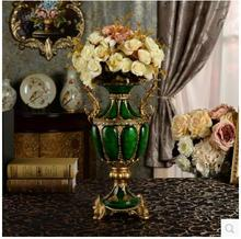 European-style high gear, antique imitation jade bronze double ears rich and luxurious resin big vase to set the home